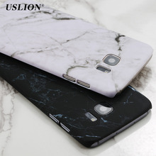 USLION Phone Cases For Samsung Galaxy S7 Smooth Marble Stone Case Hard PC Back Cover Capa Coque For Samsung S7 Edge S8 S8 Plus