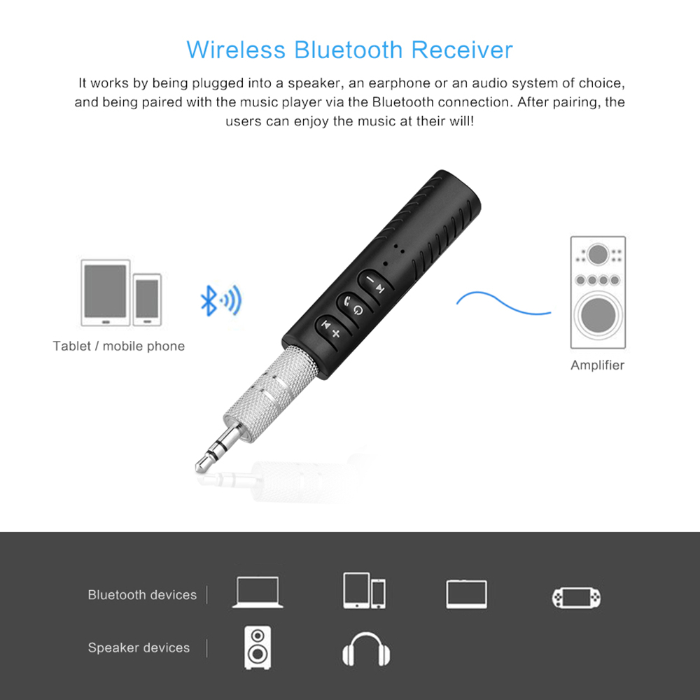Bluetooth Earphone HandsFree Wireless Bluetooth Receiver Adapter 3.5mm Jack Car Aux Audio Music for Phones Speakers Headphones (6)