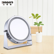 Free shipping 6 inch LED make-up mirror 3x magnifying table mirror double side desktop mirror