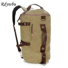 Rdywbu Men's Big Capacity Travel Duffel Bags Vintage Canvas Multifunctional Backpack Retro Rucksack Bucket Bag Trip Bolsa B289