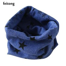 Feitong Autumn Winter Scarf Boys Girls Collar Kids Scarf Cotton Blends O Ring Scarf Fashion Stars Print Scarves Bufandas A02