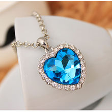 Crystal Heart Pendant Necklace Classic Titanic Ocean Crystal Heart Pendant Necklace Rhinestone Lover Gift