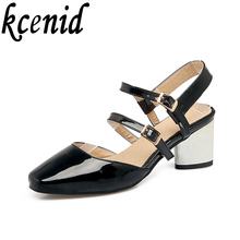 Kcenid Plus size 33-46 new fashion design woman mary jane shoes square toe buckle strap strange heels dress pumps black shoes