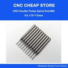 "10pcsx1/8"" 1mm Carbide CNC Double/Two Flute Spiral Bits CEL 5mm end mill engraving cutter(China)"
