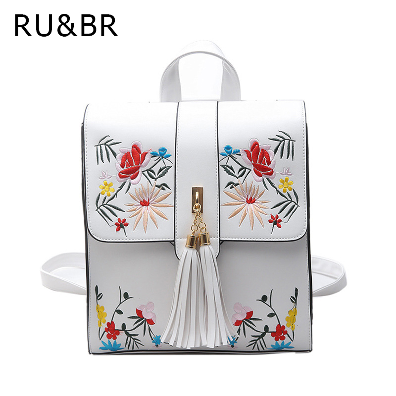RU&amp;BR Embroidered Flower Shoulder Bag Female New Korean Tassel  Backpacks College Wind Fashion Multifunctional Travel Bags<br>
