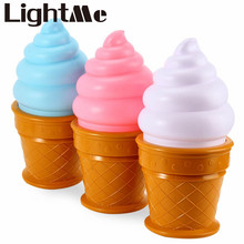 Promotion! Novelty LED Night Light Ice Cream Cone Shaped Night Light Desk Table Led Lamp For Kids Children Bedroom Decor Lights(China)