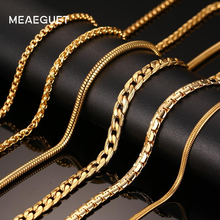 Meaeguet Classic Men's Stainless Steel Snake/Box/Hanging/Curb/Flat/Twist Chain 24inch Gold-Color Long Necklace Wide 3mm/6mm(China)