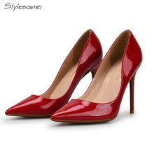 Stylesowner 10cm Red Pointed Toe High Heels Shoes Pumps Sexy Lady Patent Leather Shoes Sweet Fashion Women Office Wedding Shoes(China)