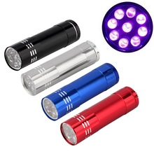 2 pcs high-quality Mini Black Aluminum UV Ultra Violet 9 LED Flashlight Torch Light Lamp  penlight free shipping