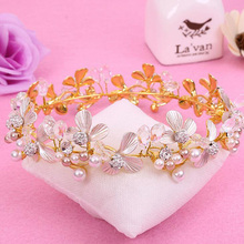 Flower Pearls Woman Imperial Medieval Homecoming Prom Accessories Full Circle Round Gold Color King Crown Hari Jewelry Hairwear(China)