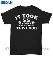 Gildan Mens Graphic Tees It Took 55 Years To Look This Good Crew Neck Men Short Sleeve Tall T Shirt