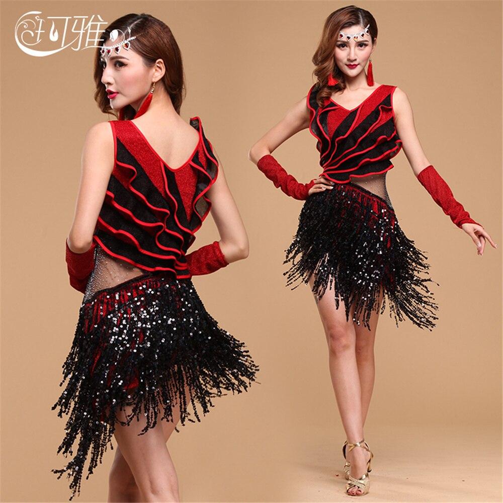 2019 Multilateral Fringe Ballroom Dance Competition Dresses Sequin Latin  Dance Costume Tassel Rumba Salsa Dress 13a878d68fc9