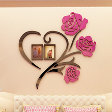 Love Heart Flowers Frame Painting 3D Crystal Acrylic Cheap Wall stickers Bedroom wall Hangings sticker Mural Wedding decor Gift(China)