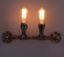 Wall Lamp American Country Wrought Iron Pipes Bookshelf Wall Lamps Sconces Creative Wall Lights Lamparas Home Lighting Fixture