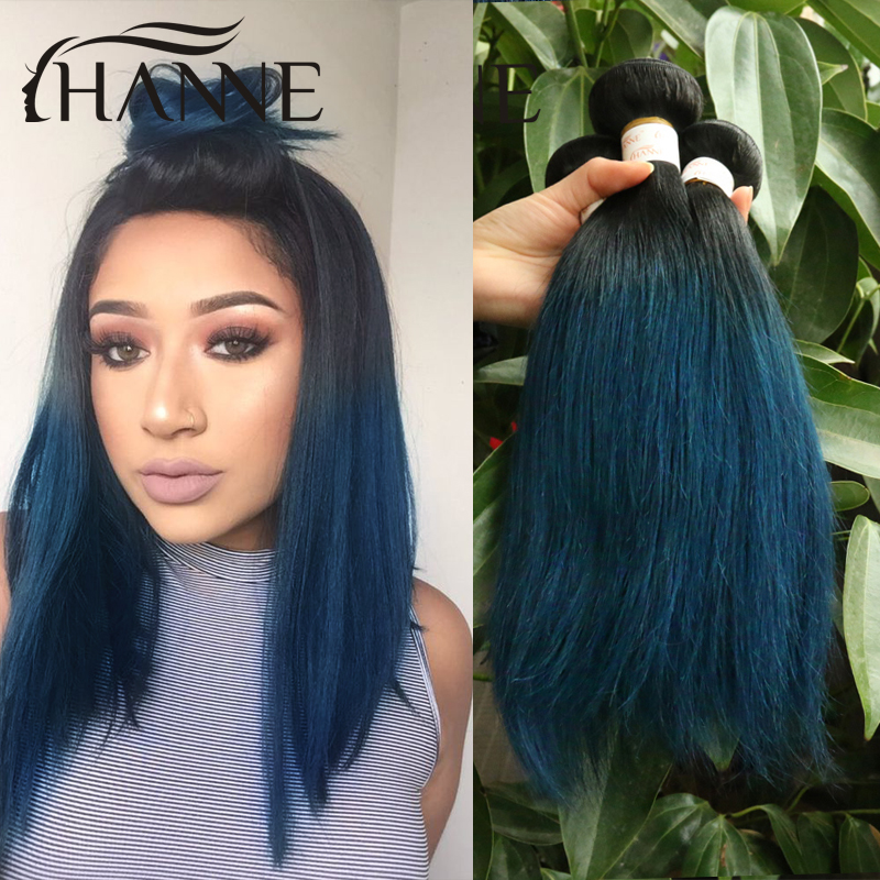 Straight Peruvian dark roots blue ends human hair 3pcs/lot remy hair blue ombre weave 2tone ombre blue bundles Sale Colored Hair<br><br>Aliexpress
