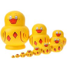 10pcs/Set Cartoon Cute Duck Pattern Matryoshka Dolls Wooden Russian Nesting Doll Baby Toy Gift Hand Paint Home Decor Craft(China)