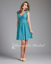 Free Shipping New Cap Sleeve Chiffon Ruched Knee Length bridesmaid dresses turquoise