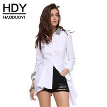 HDY Haoduoyi Fashion Women Dresses Asymmetrical Mini Dress Long Sleeve White Shirt Dress Vestidos Ladies Casual Blouse Tops(China)