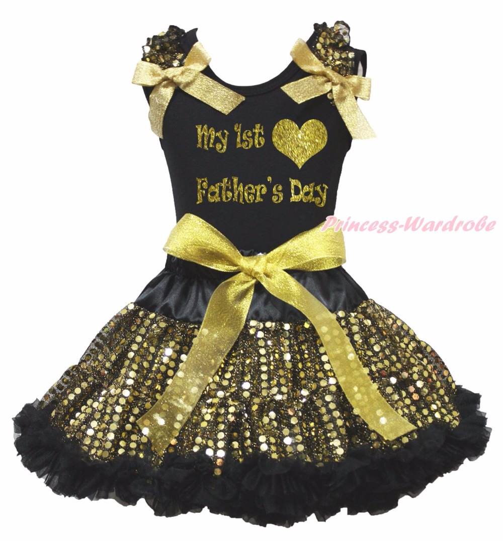My 1ST Heart Fathers Day My Daddy Is My Hero Black Top Gold Bling Sequins Girls Skirt Outfit 1-8Y<br>