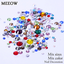 Mix Size Mix Colors Non HotFix Flatback Nail Art Rhinestones For Clothes Shoes Decoration And DIY Design(China)