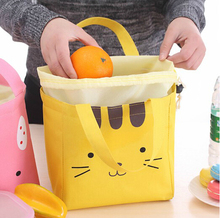 2017 New Arrival Cute package cartoon warm insulated thermal bag lunchbox food picinic bag canvas elastic beam mouth lunch bag(China)