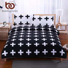 BeddingOutlet Black Cross Home Bedding Set White Bedclothes Super Soft Cover For Bed Bedroom Twin Full Queen King drap de lit(China)