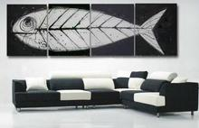 Retro hand made  oil paintings 4 piece Fish bones Fossil canvas art white black modern home decorative art sets on the wall