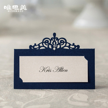24pcs/lot Royal Blue Wedding Decoration Guest Name Identity Card Holder Table Cards Stand Numbers Supplies with Rhinestone CP502(China)