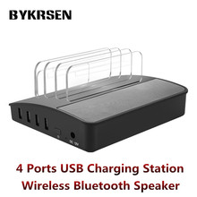 BYKRSEN 4 Ports USB Charging Station Mini Bluetooth Wireless Speaker Universal Charger Holder Stand for Samsung iPhone Phones