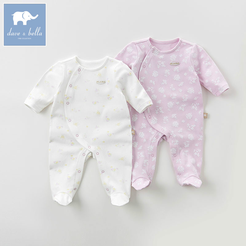 DB6067 dave bella autumn baby 0-12M sleepwear infant pajamas flower butterfly printed clothing set colorful pajamas set<br>