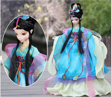 Free shipping 2015 newest 29CM Chinese peacock princess costume joint body bobby doll collections With Chinese fairy tale