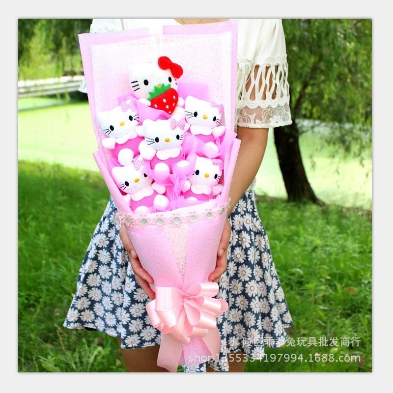 Free Shipping, cartoon pink hellokitty birthday gift valentines day wedding Decorative Flowers toy bouquet<br><br>Aliexpress