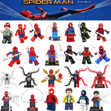 For Legoing Spiderman Super Heroes Thor Iron Man Loki Deadpool Venom Spider Gwen man batman Avengers Building Blocks Toys Figure(China)