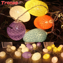 Tronzo 10Pcs Easter Egg Led String Light Easter Decoration 1.8M Plastic Colorful Egg String Lights For Easter Party Supplies(China)