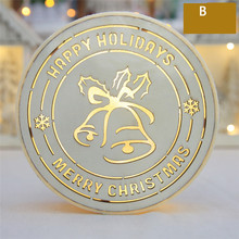 NEW arrival 2017 Luminous Christmas Decoration Led Round Bell Folders Desktop Decoration #0929 B(China)