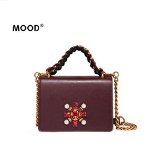 MOOD designer handbags high quality Pure hand-made leather small party bags custom diamond personality fashion handbags(China)