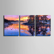 Free Shipping E-HOME The Lake Sunset Scenery Clock in Canvas 3pcs wall clock(China)