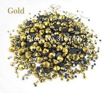 500pcs/bag Gold Color Mixed Sizes Glass Rhinestones Flatback DIY Hot Fix Stones 063005020
