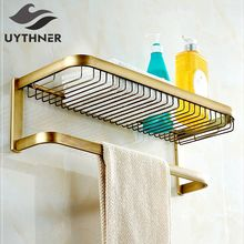 Uythner Full Copper Antique Brass Bathroom Minimalist Towel Rack Shelf with shower baskets racks & make - up racks & washing ra(China)