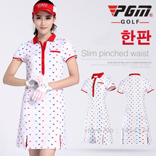 New Arrival !PGM Clothing Women Golf Printing Dress S-XL Fitness Lady Tennis Slim Sportswear White Moisture Wicking Dress 2017