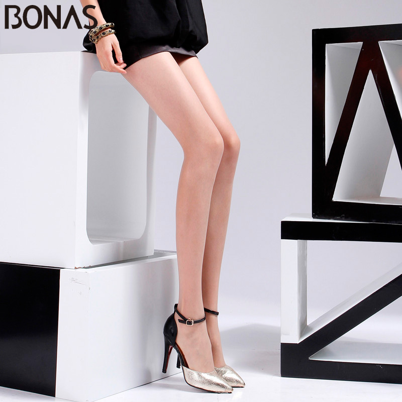 BONAS Spring T Crotch Sexy Nylon Stretchy Tights Girl Spandex Pantyhose Resistant Stockings Solid Design Women Slim Tights