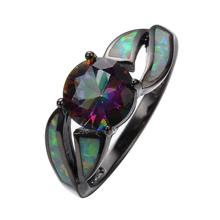 Charming White Fire Opal Ring Colorful Sappjire Men Women Rainbow Jewelry Black Gold Filled Engagement Rings Bijoux Femme RB0276(China)