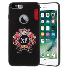 for iPhone 7 Plus Fashion Hard Cases X-FITTED Embroidery Case for iPhone 7 Plus Leather Skin PC TPU Mobile Casing - Crown Flora