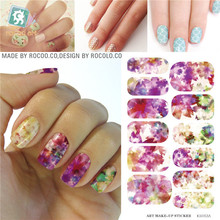 Water Transfer Foil Nail Art Sticker pink Flower Nails Sticker Manicure Decor Styling Tool Finger Nail Wraps Decal(China)
