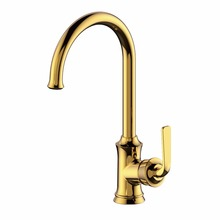 Gold Kitchen Sink Faucets Single Handle Fashion Arc Polished Chrome Hot and Cold Saving Water Mixer Tap with Free Pipes