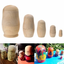 5pcs/set Unpainted DIY Blank Wooden Russian Nesting Dolls Matryoshka Gift Hand Paint Toys Home Decoration Gifts(China)