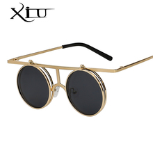 XIU Flip Up Polarized Sunglasses Classic Steampunk Men Women Sunglasses Metal Top Quality Brand Designer Vintage Glasses UV400(China)