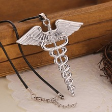 European and American blockbusters Percy Jackson Angle Wings Magic Wand vintage caduceus Pendant Necklace @M23