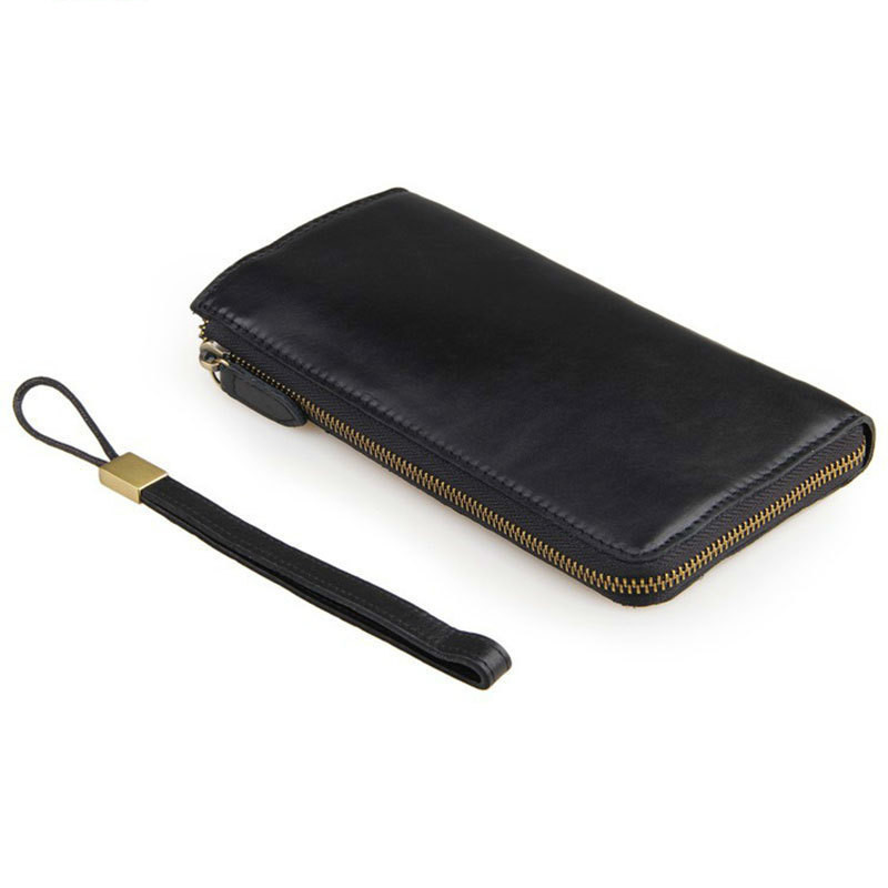 Black Cowhide Male Clutch Wallets Glossy Genuine Leather Men Long Purse Man Hand Take Notecase With Multi Card Holders PR578048A<br>
