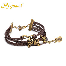 Ajojewel New Fashion Music Note Guitar Pendant Leather Bracelets For Women Brown Casual Jewelry(China)